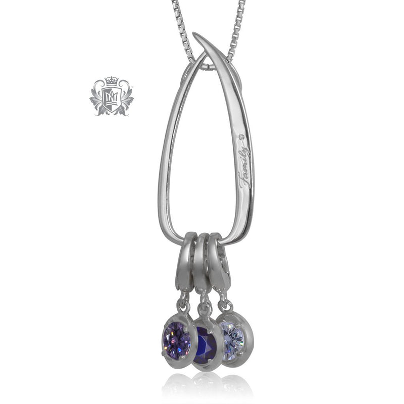 Modern Family Charm Keeper Pendant with 3 birthstone charms (sold separately)