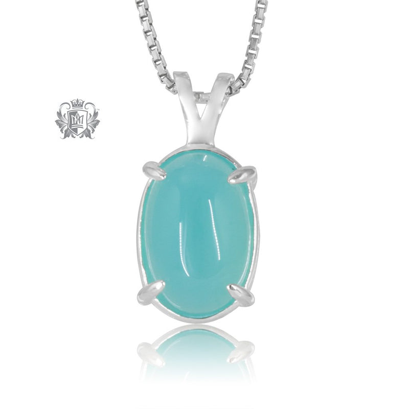 Aquamarine Agate Jellybean Prong Set Stud Pendant Sterling Silver