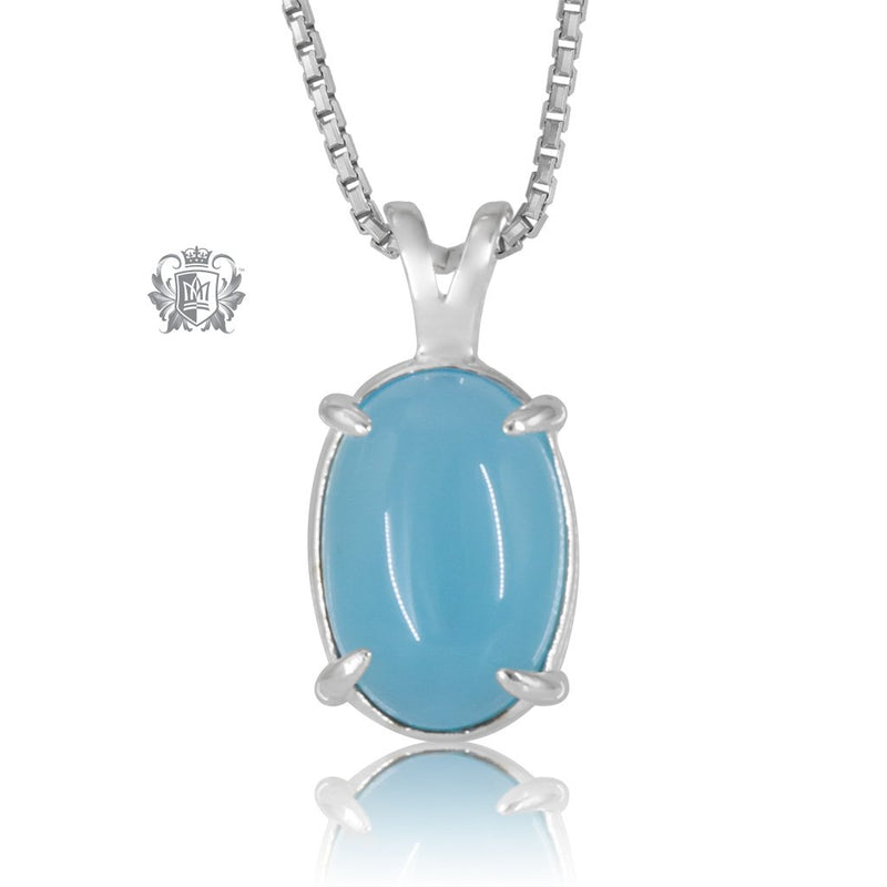 Sky Blue Agate Jellybean Prong Set Stud Pendant Sterling Silver