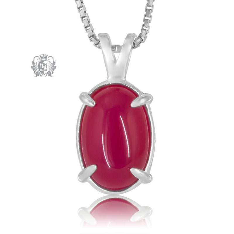 Raspberry Agate Jellybean Prong Set Stud Pendant Sterling Silver