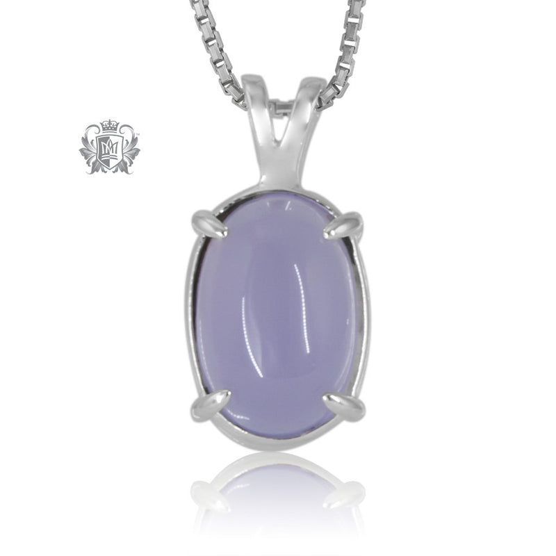 Lilac Agate Jellybean Prong Set Stud Pendant Sterling Silver