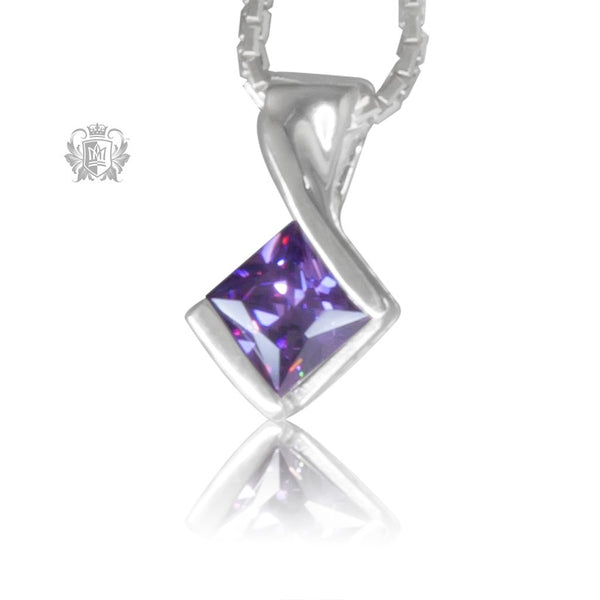 Amethyst Cubic Metalsmiths Sterling Silver Offset Pendant