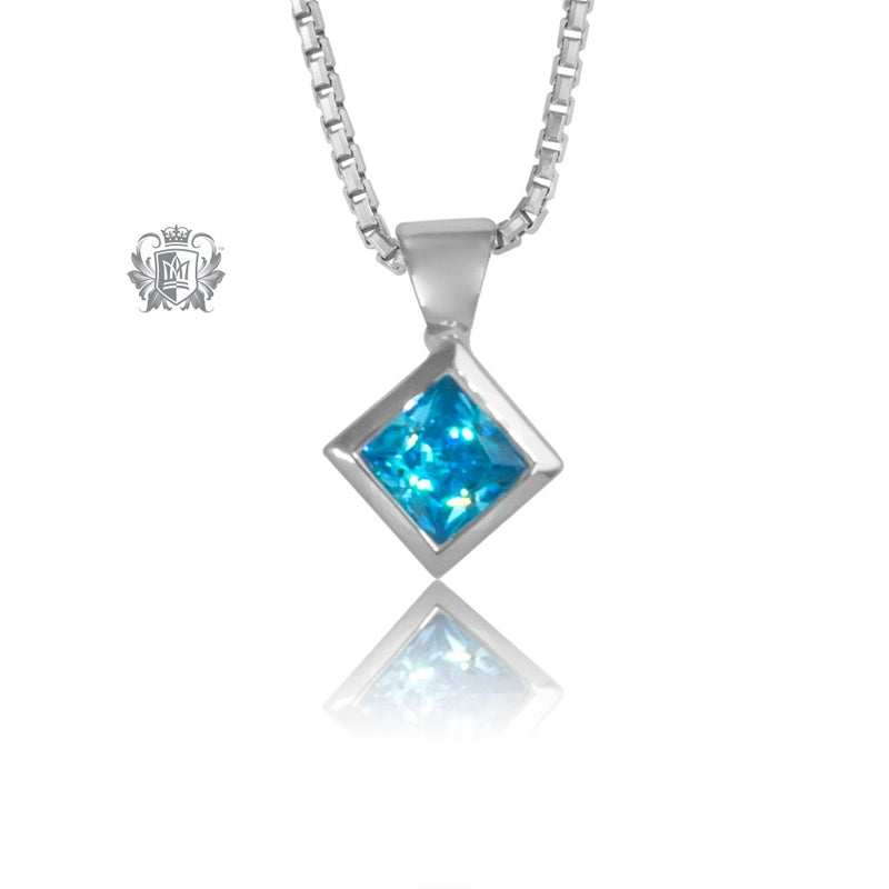 Blue Topaz Cubic Square Slope Pendant Sterling Silver