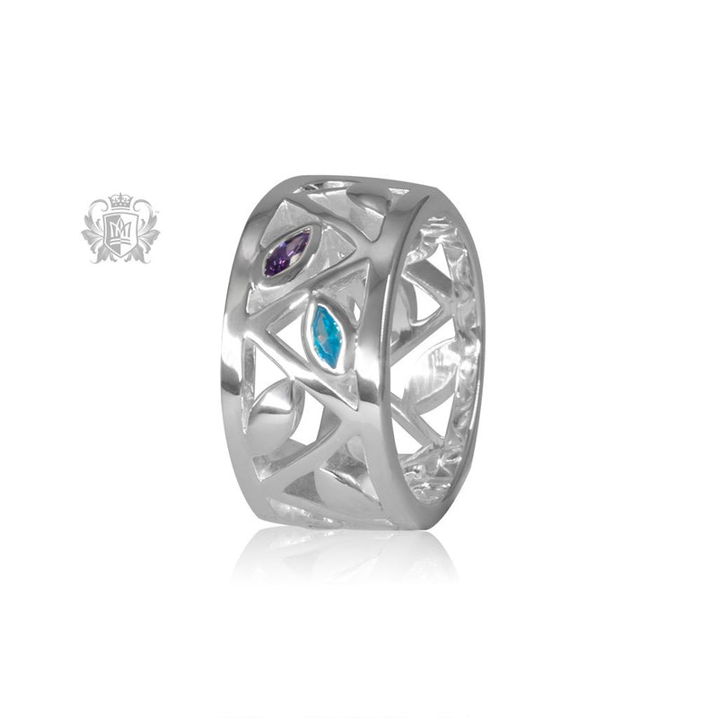Marquise Petal Band Amethyst & Blue Topaz Metalsmiths Sterling Silver