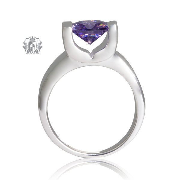 Amethyst Cubic Large Square Channel Set Ring Sterling Silver Side View