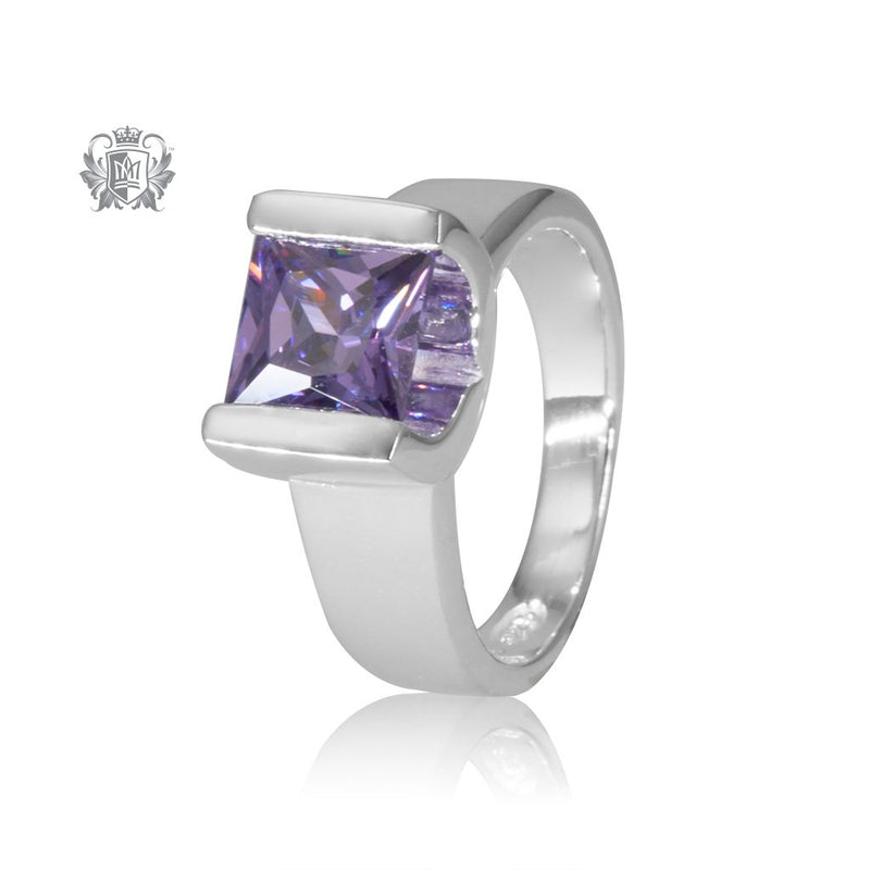 Amethyst Cubic Large Square Channel Set Ring Sterling Silver