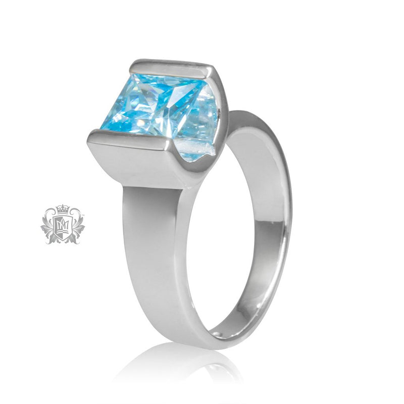 Blue Topaz Cubic Large Square Channel Set Ring Sterling Silver