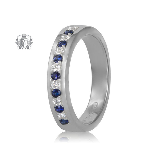 Square Edges Eternity Band - dark blue and classic cubic
