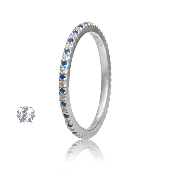 Sterling Silver Sapphire Blue Eternal Stacking Cubic Ring