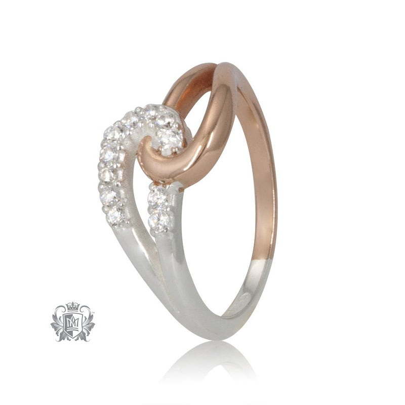 Metalsmiths Sterling Silver Rose Gold Dipped Embrace Loop Cubic Ring
