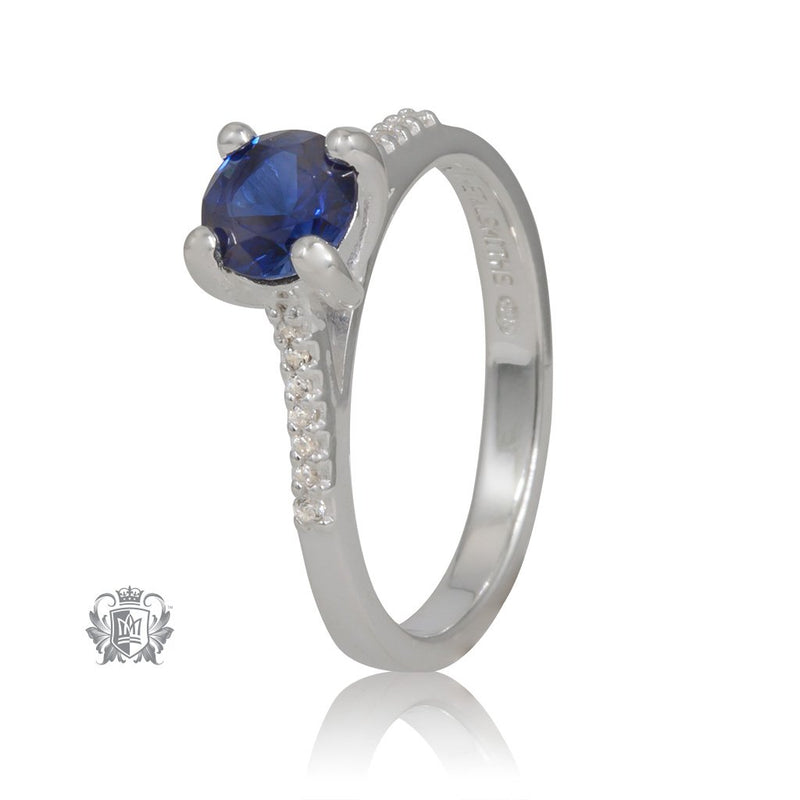 Prong Set Sapphire Cubic Ring Metalsmiths Sterling Silver