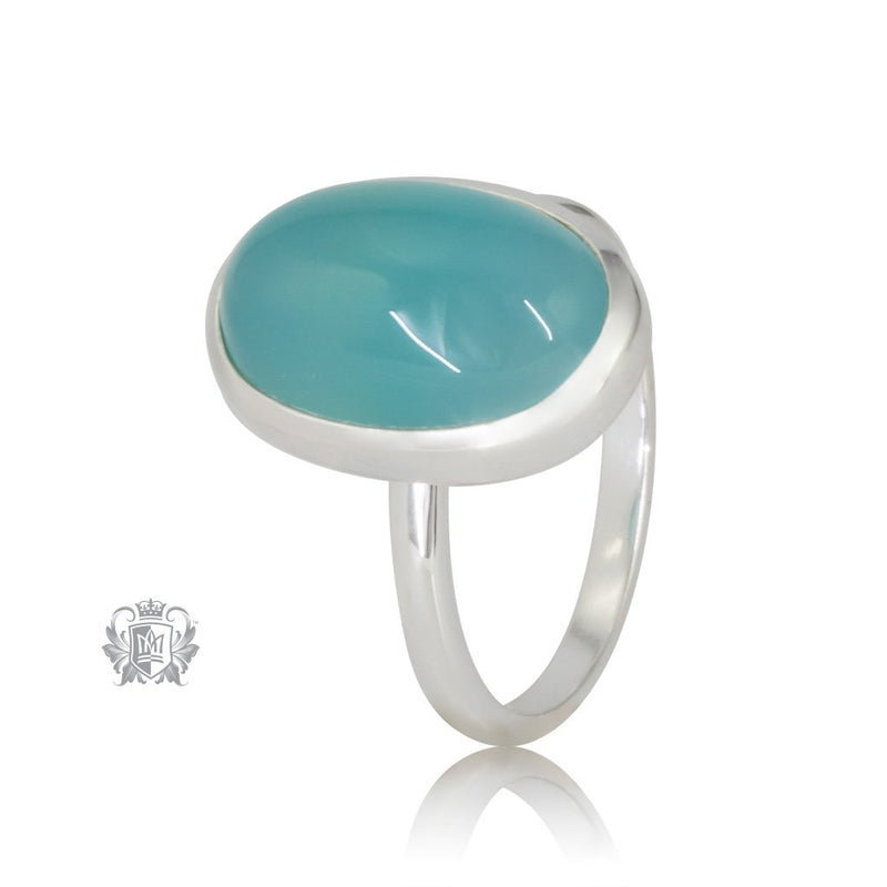 Aquamarine Agate JellyBean Ring Sterling Silver