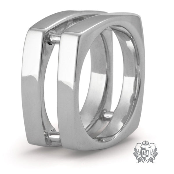 Large Wide Square Double Band - Metalsmiths Sterling䋢 Canada