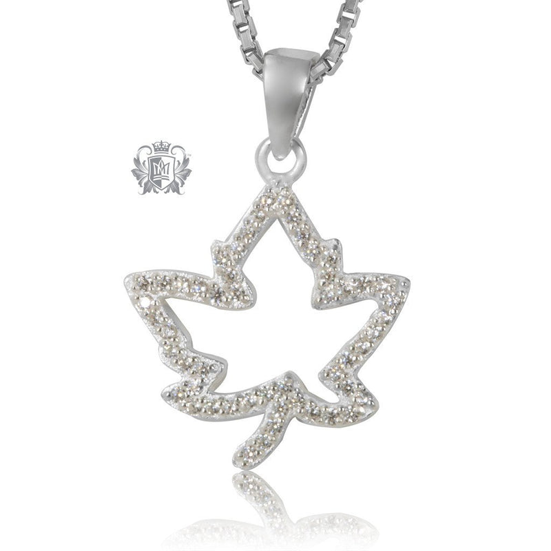 Sterling Silver Sparkling Maple Leaf Gemstone Necklace