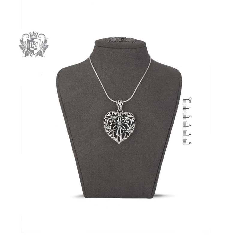 Large Dimensional Heart Pendant Sterling Silver on Bust