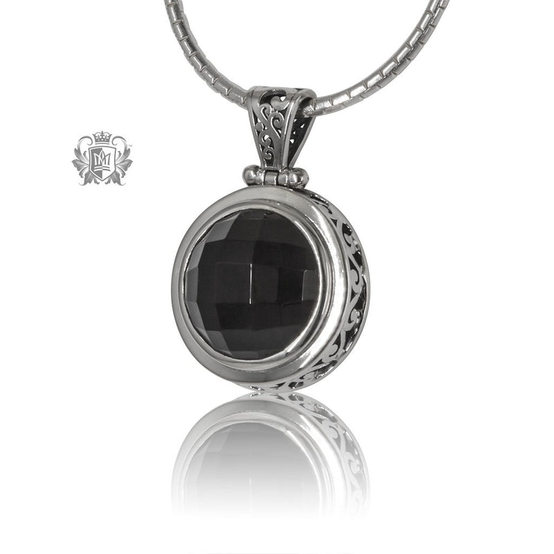 Black Onyx Large Checker Cut Pendant Sterling Silver Front