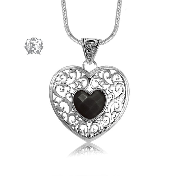 Black Onyx Scrolled Heart Pendant Sterling Silver