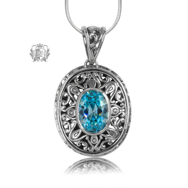 Blue Topaz Cubic Oval Gemstone Pendant Sterling Silver