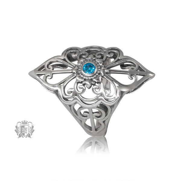 Blue Topaz Cubic Panos Konidas Scroll Ring Metalsmiths Sterling Silver