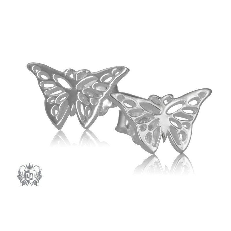 Sterling Silver Monarch Butterfly Stud Earrings