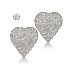 PavŽ Heart Stud Earrings Sterling Silver - Front