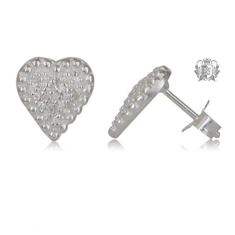 PavŽ Heart Stud Earrings Sterling Silver - Side