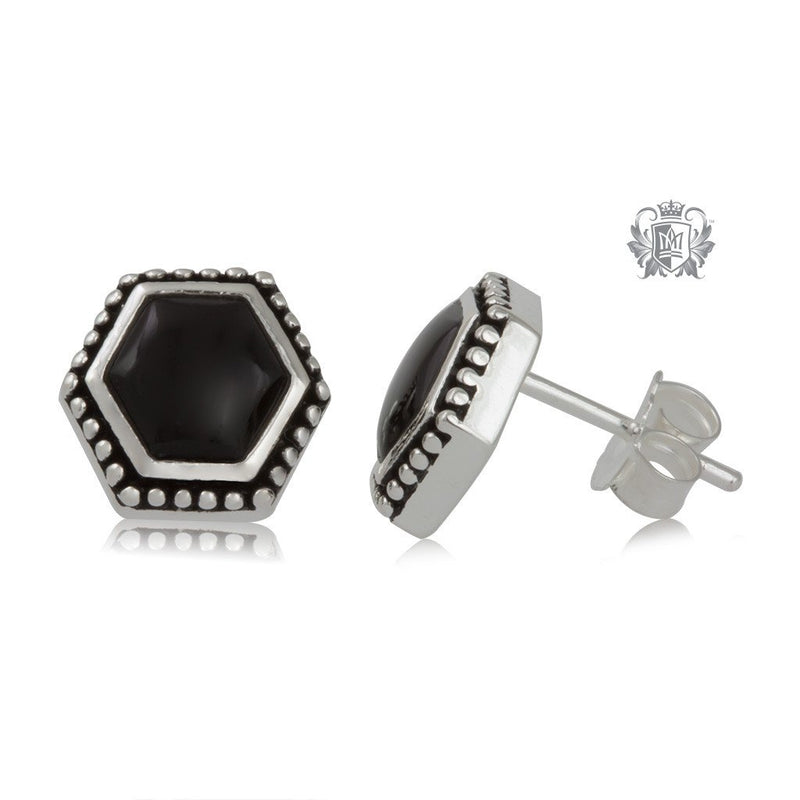 Black Onyx Hexagon Stud Earrings Sterling Silver