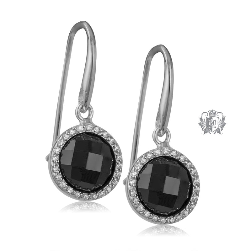 Checker Cut Black Cubic Hanger Earrings