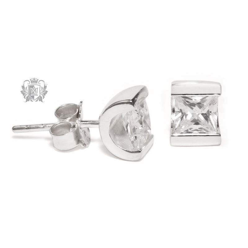 Channel Set Cubic Stud Earrings