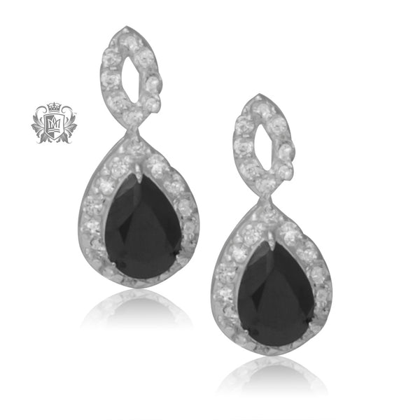 Teardrop Black Cubic Stud Earrings