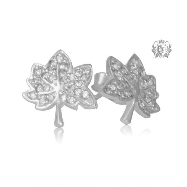 Maple Leaf Stud Earrings with Pavé Cubics