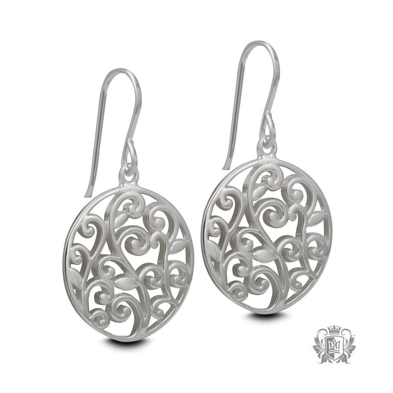 Sterling Silver Scroll Circle Hanger Earrings