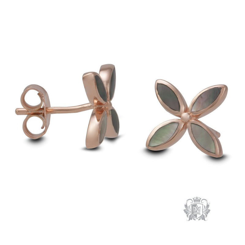 Rose Gold Dipped Mother of Pearl Flower Earrings - side