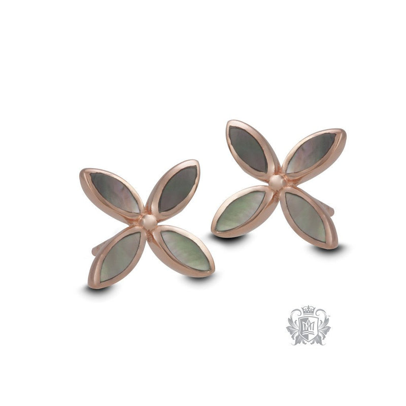 Rose Gold Dipped Mother of Pearl Flower Earrings - front