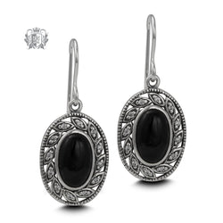 Leafy Oval Black Onyx Earrings Sterling Silver