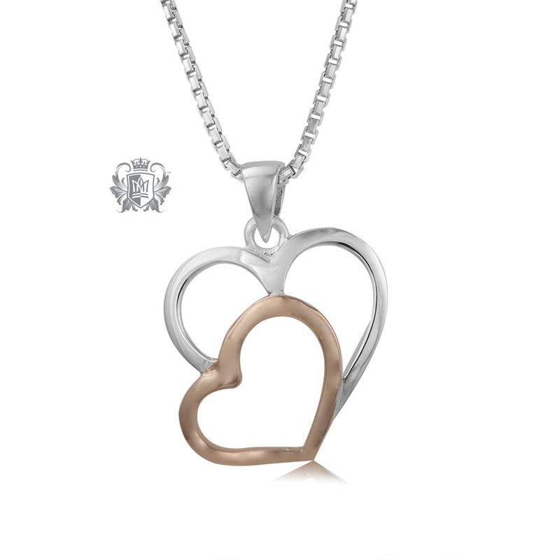 Double Heart Pendant with Rose Gold