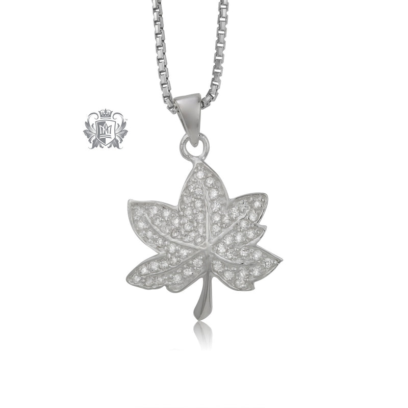 Maple Leaf Pendant with PavŽ Cubic