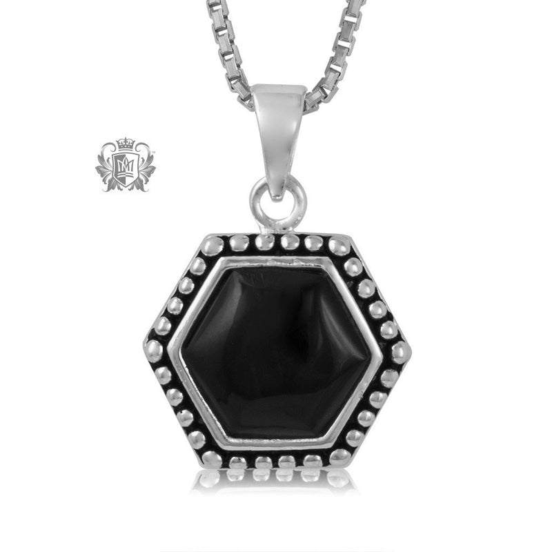 Black Onyx Hexagon Drop Pendant Sterling Silver Necklace