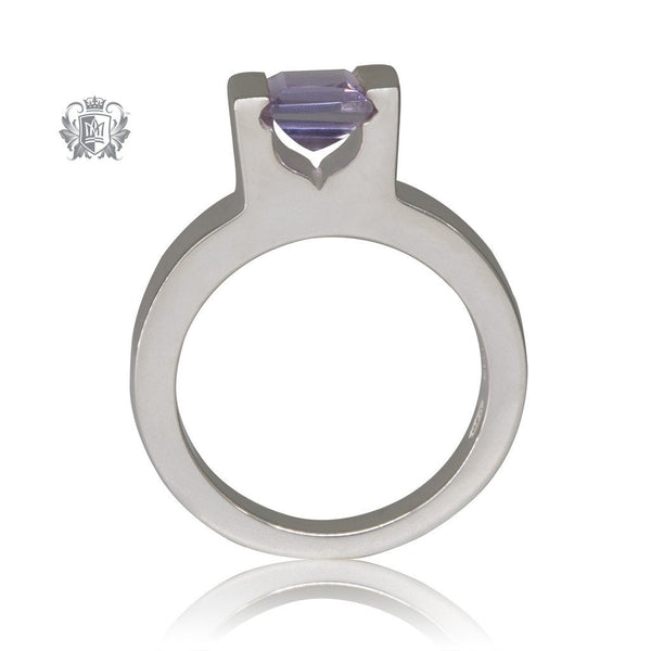 Amethyst Cubic Floating Channel Set Ring Sterling Silver Side