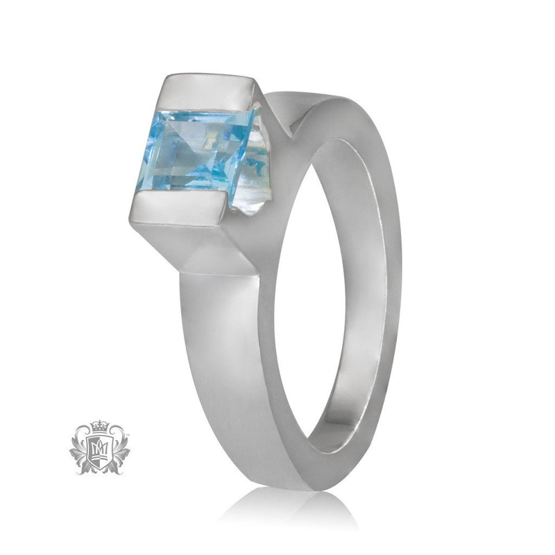 Metalsmiths Sterling Silver Blue Topaz Floating Channel Set Ring - front