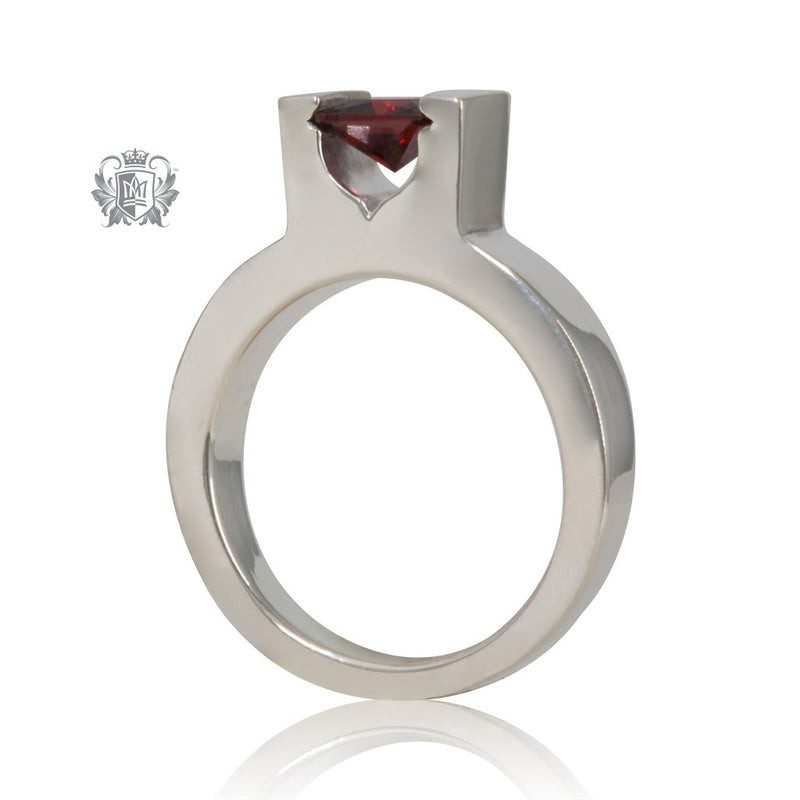 Metalsmiths Sterling Silver Garnet Floating Channel Set Ring - side