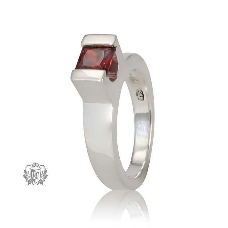 Metalsmiths Sterling Silver Garnet Floating Channel Set Ring - front