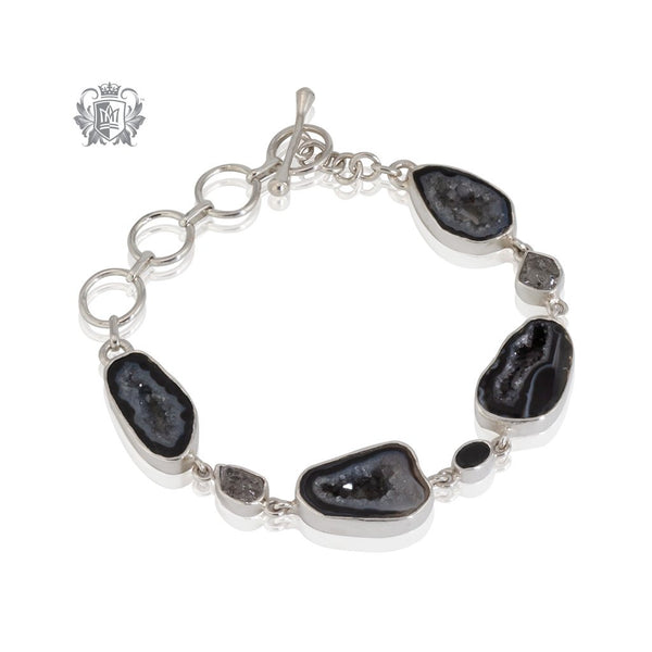 Black Agate & Black Spinel Toggle Bracelet Metalsmiths Sterling Silver One of A Kind
