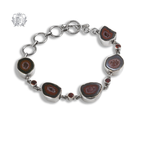 Watermelon Agate & Garnet Spinel Toggle Bracelet