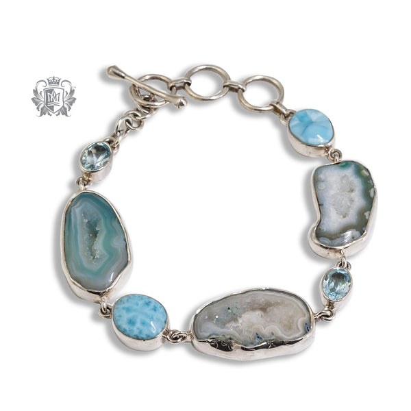 Sea Blue Agate ,Blue Topaz and  Larimar Toggle Bracelet