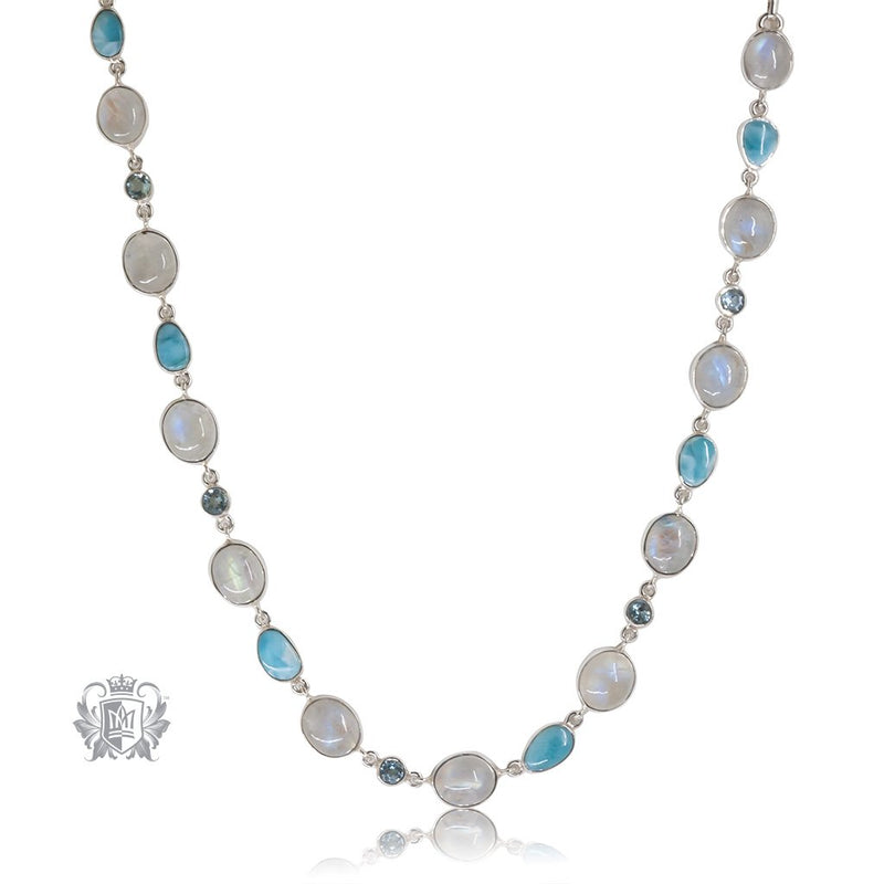 Moonstone & Larimar Link Necklace Metalsmiths Sterling Silver One of A Kind
