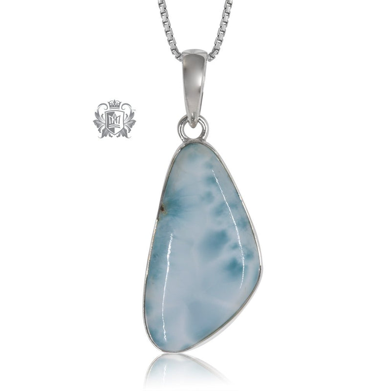Large Larimar Slice Pendant Metalsmiths Sterling Silver