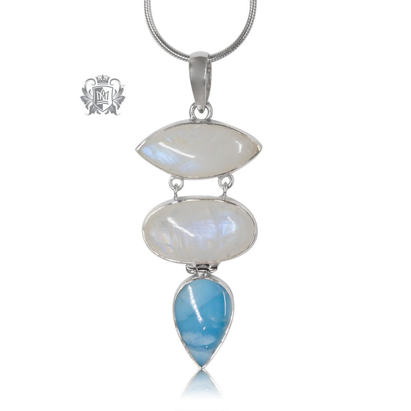 Larimar & Moonstone Pendant Metalsmiths Sterling Silver One of A Kind