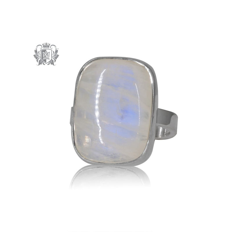 Cushion Cut Rectangular Moonstone Ring Metalsmiths Sterling Silver One of a Kind