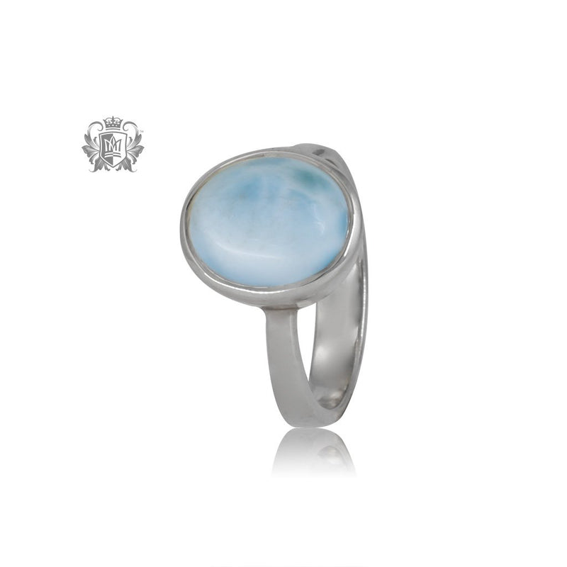 Oval Larimar Ring One of a kind Metalsmiths Sterling Silver